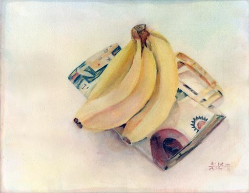 003・水彩完成「バナナ+紙袋」・510.jpg